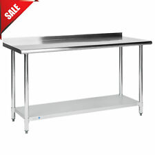 Commercial 24x60in Stainless Steel Galvanized Work Prep Table With 2in Rear Upturn
