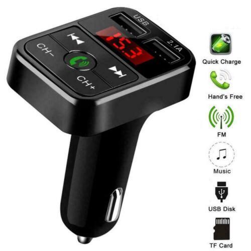 Kabellos Kfz Bluetooth Fm Transmitter MP3 Radio Adapter Auto Kit 2USB Ladegerät