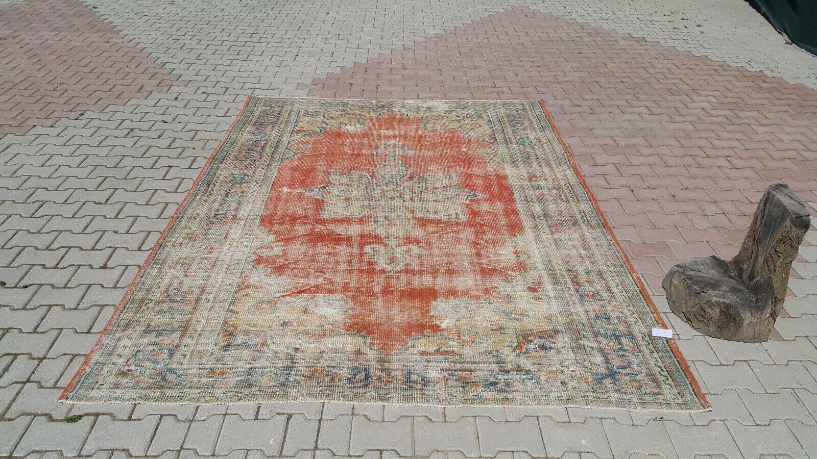 Vintage, 7'0x'9'9 pies, alfombra turca, pequeñas Alfombra, vintage mano anudada Alfombra, Alfombra Roja