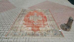 Vintage-7-039-0x-039-9-039-9-feet-Turkish-Rug-oushak-rug-Vintage-Hand-knotted-Rug-Red-Rug