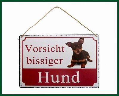 Türschild Garten Veranda 22x8 cm Schild « VORSICHT HUNDE » aus Schiefer