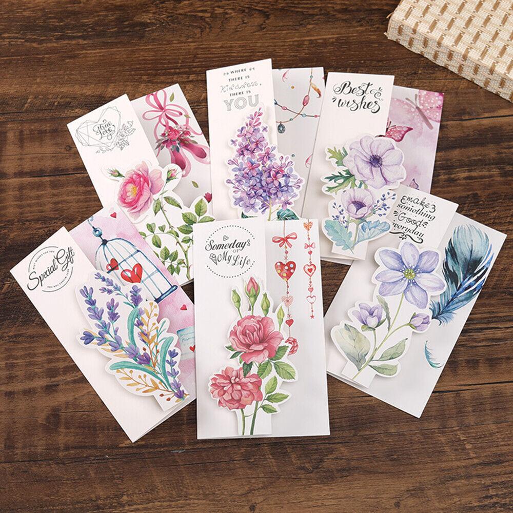 DI- Blank Floral Greeting Thanks Card w/ Envelope Birthday V
