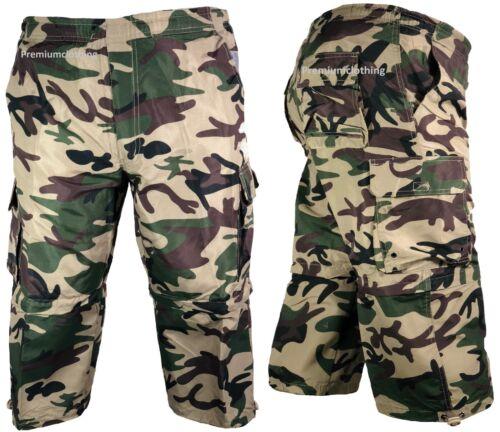 Herren 3//4 Sommer Shorts 2 in 1 Elastischer Bund Cargo Combat dreiviertel Hose