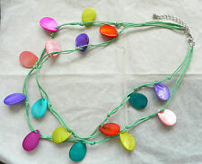 DOUBLE ROW NECKLACE_LARGE TEARDROP MOTHER OF PEARL TEARDROPS_BEAUTIFUL COLOURS