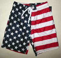 Faded Glory American Flag Fourth Of July Usa Swim Trunk Board Short 2x 4x