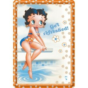 Nostalgic-art-Cartolina-Metallo-10x14cm-Betty-Boop-Get-Refreshed