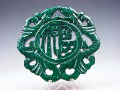 Objective Vecchio Nephrite Jade Pietra 2 Sides Intagliati Grande Ciondolo 2 Birds Blessing Diversified Latest Designs Asian Antiques