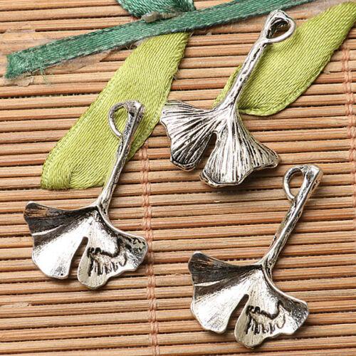 14pcs dark silver color leaf  design charms  EF2669