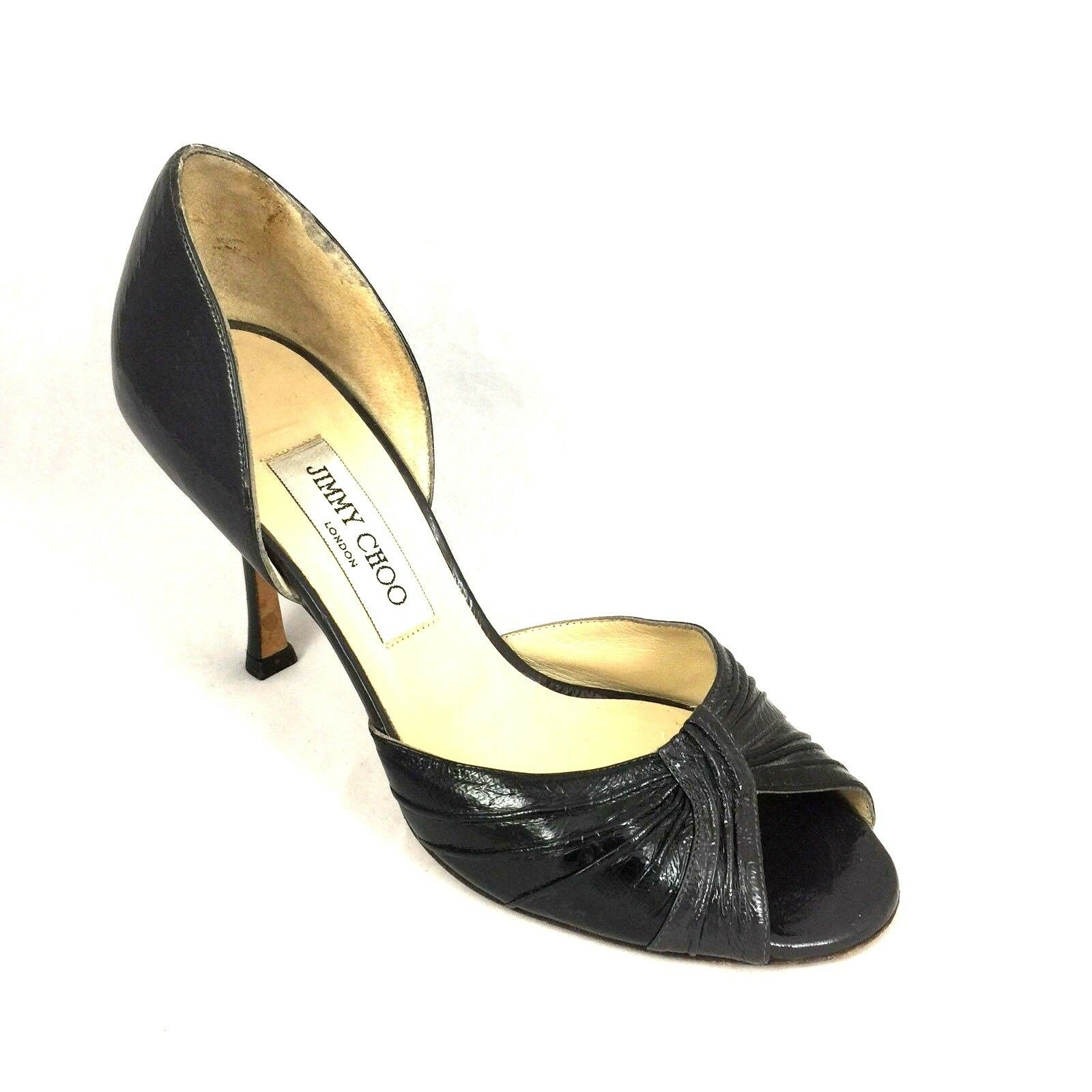 Jimmy Choo Dorsay Pump Black Two Tone Ruched Sandal Patent Leather Peep Toe 38 8