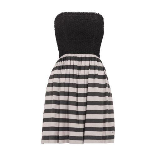 Hilfiger Denim Bandeaukleid strukturiertem Spitzenbesatz Damen Kleid Größe L
