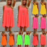 Neu Damen Sommer Strandkleid Chiffon Boho Partykleid Minikleid Tops Sommerkleid