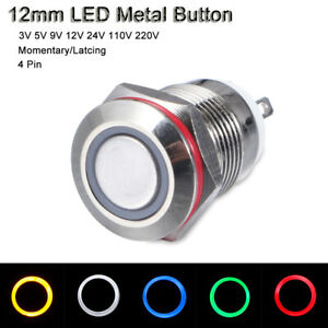 Blue Green Yellow White ON//OFF Metal Button Switch LED Momentary//Latching 12mm