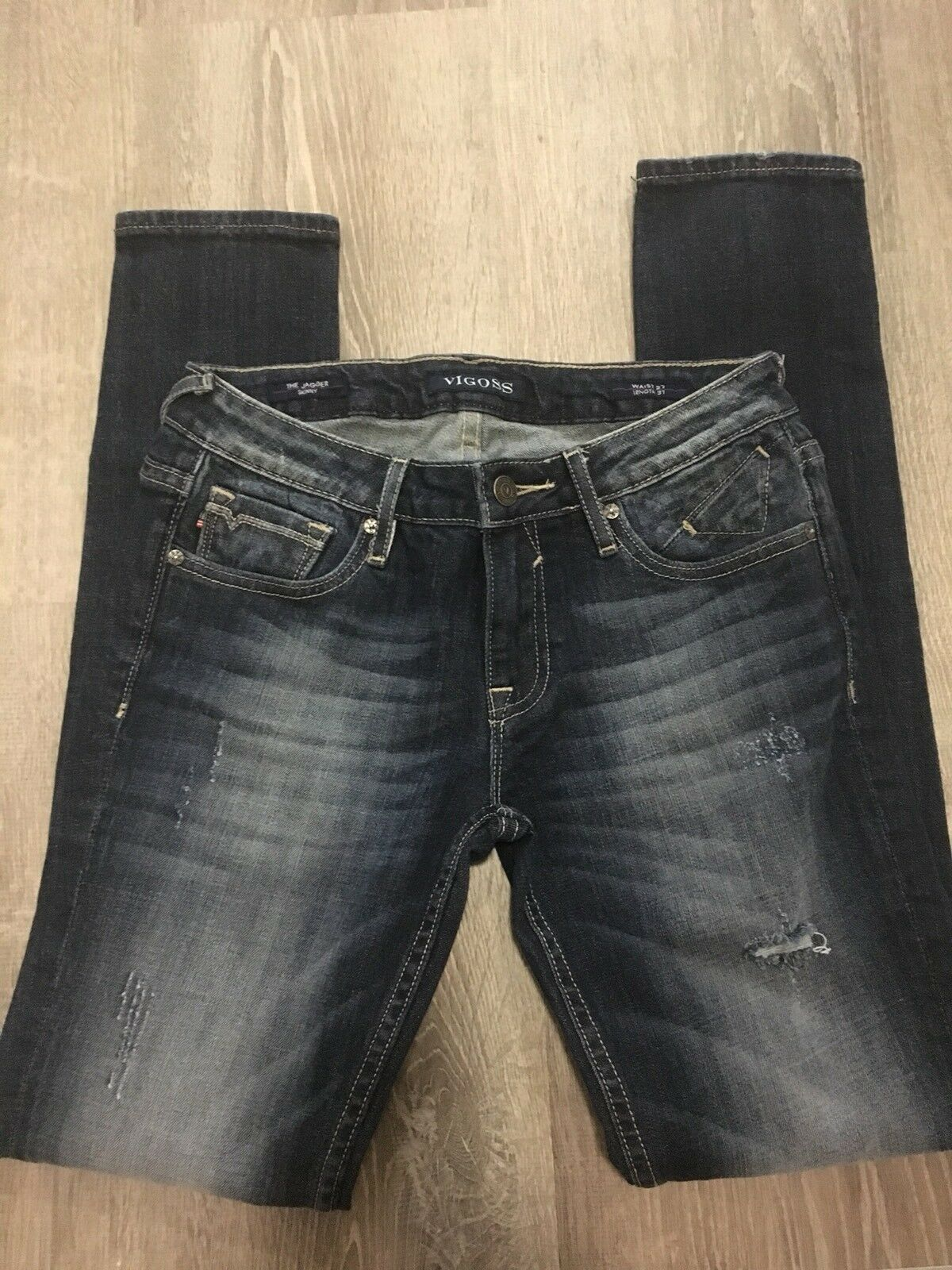 VIGOSS Womens Jeans sz 27 Dark bluee Denim Distressed Ripped Skinny Q19