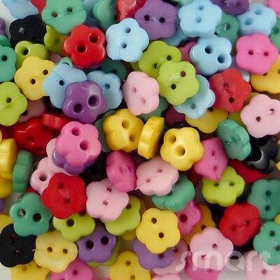 100pcs Bulk Resin Mixed Colors Flower Sewing Button lots 6mm 2 holes Craft Cards