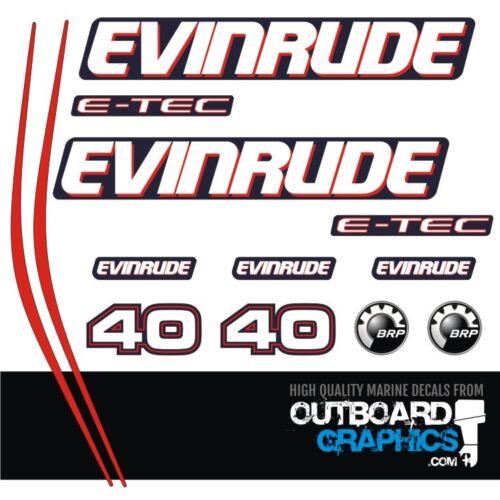 Evinrude 40hp ETEC E-TEC outboard engine decals//sticker kit