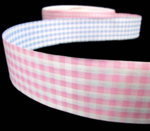 """6 Yards Baby Pink Blue Gingham Reversible Acetate Ribbon 1 1//2/""""W"""