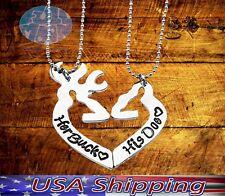 New Buck and His Doe Engraved Heart shaped Deer Elk Split Couples Necklace