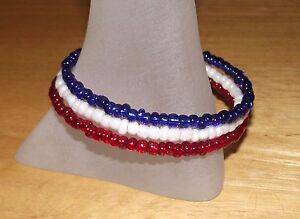 Patriotic-Red-White-Blue-Beaded-Wrap-Coil-Bracelet-USA-Made-Glass-Bead-Mix