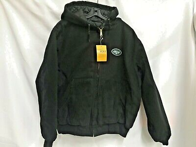 NFL New York Jets Cumberland Canvas Quilt Lined Hooded Jacket