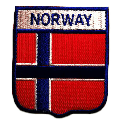 rot 6,4 x 7,4 cm Norwegen Flagge Fahne Aufnäher // Bügelbild