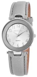 Excellanc-Damenuhr-Silber-Grau-Analog-Kunst-Leder-Quarz-Armbanduhr-X-1900076-007
