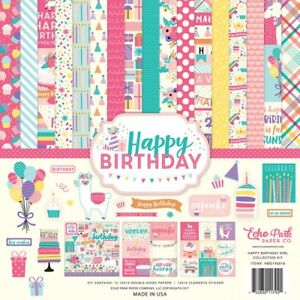 Echo-Park-034-Happy-Birthday-Girl-034-12x12-Scrapbook-Kit-Papers-Stickers-Party