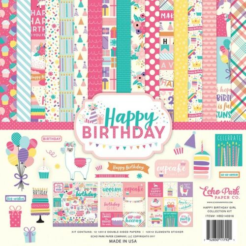 """Echo Park /""""Happy Birthday Girl/"""" 12x12 Scrapbook Kit Papers Stickers Party"""