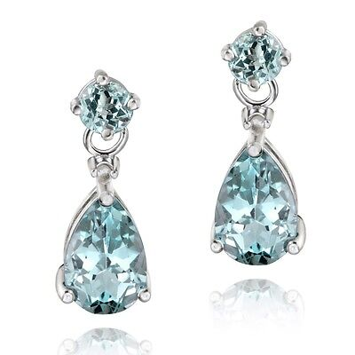 .925 Sterling Silver 3.6ct Blue Topaz Teardrop Earrings