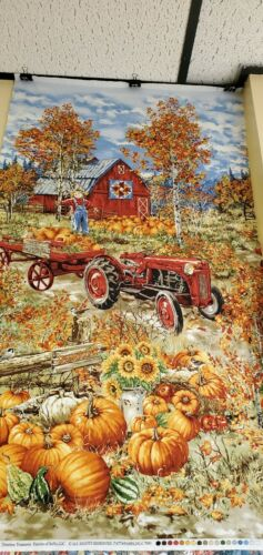 Timeless Tteasures Fall Panel NEW pumpkin patch with scarecrow