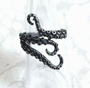 Sterling-Silver-Octopus-Ring-Tentacles-Nautical-Ocean-Adjustable-Size-Jewelry