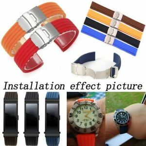 Waterproof-Silicone-Rubber-Watch-Strap-Band-Deployment-Buckle-18-24mm-Watchband