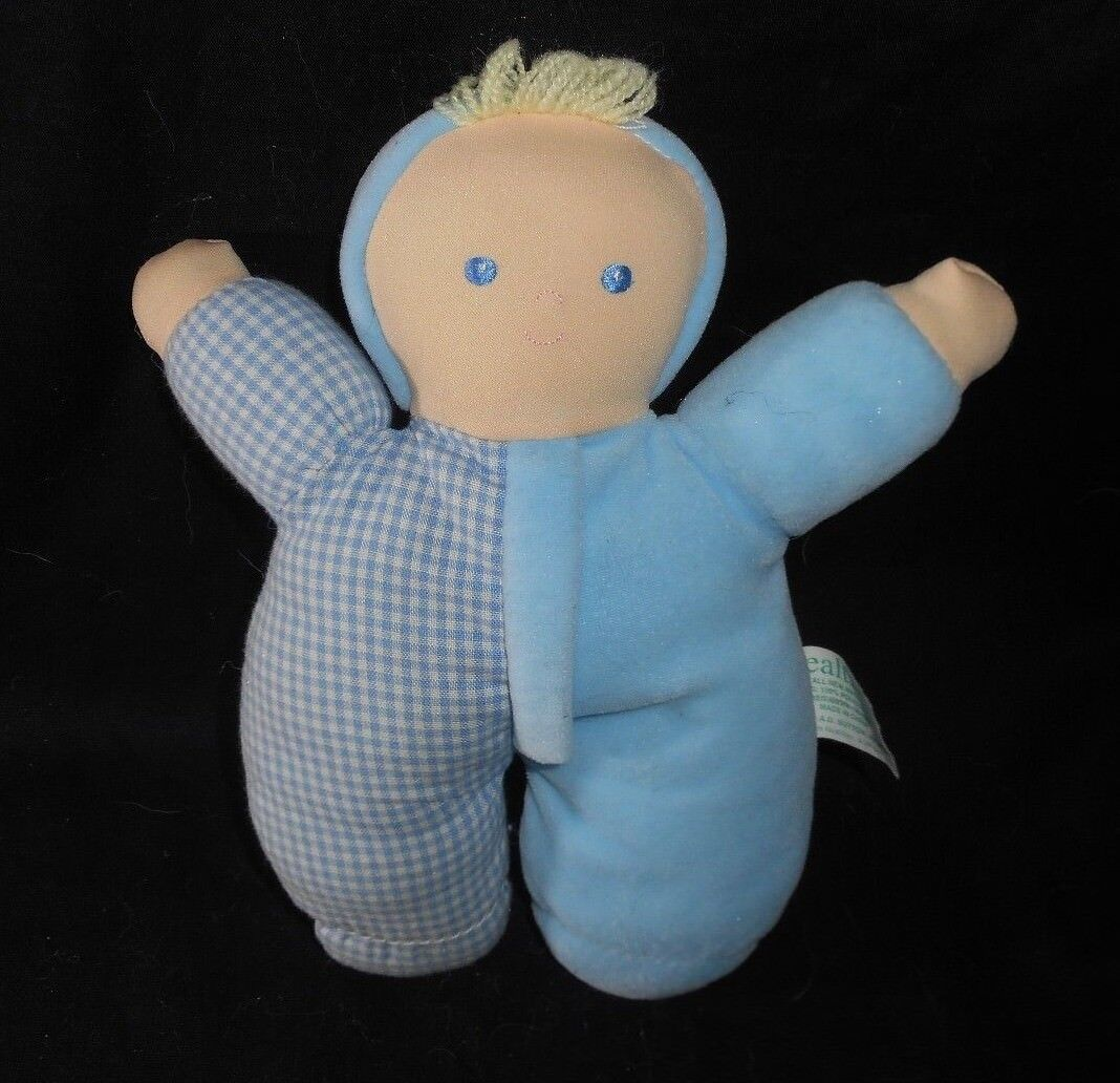 8  VINTAGE HEALTHTEX BABY Blau PLAID BOY DOLL RATTLE STUFFED ANIMAL PLUSH TOY