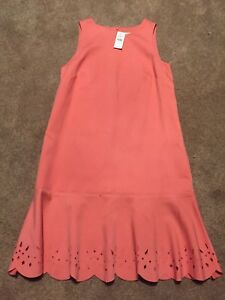 Nwt Womens Loft Coral Orange Laser Cut Shift Dress Size 6