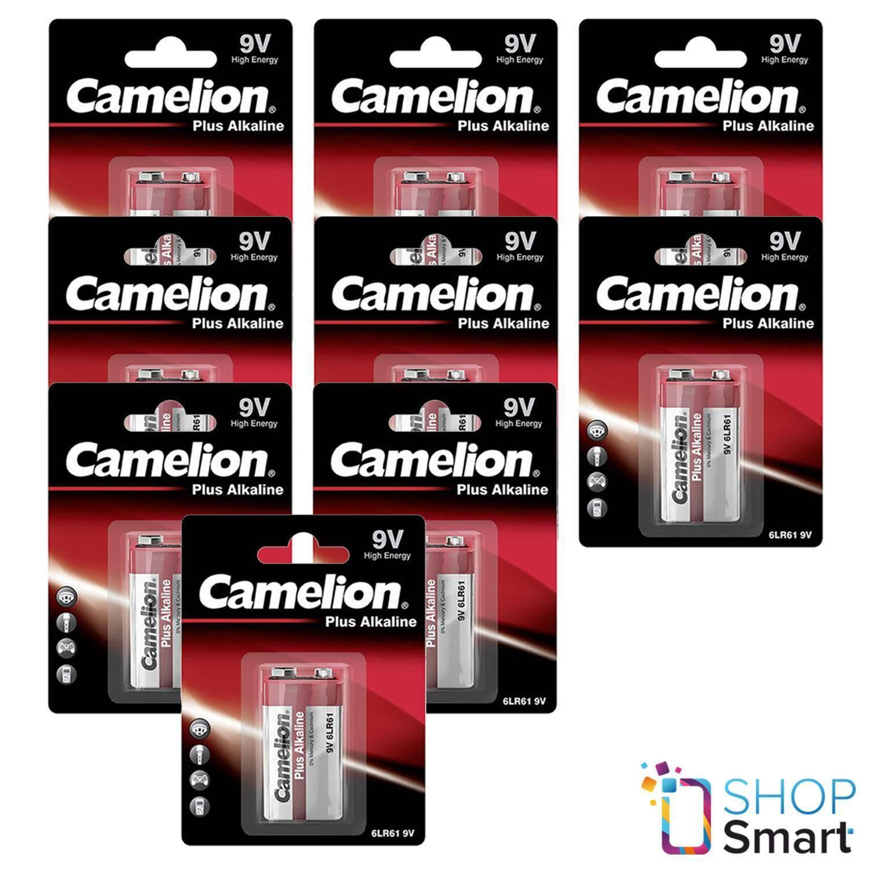 9 camelion Alkaline plus 9v battery 6f22 long life 700mah exp 2028 1bl new