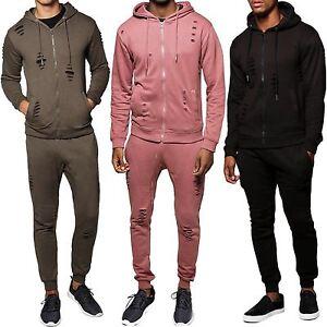 New Mens Plain Ripped Distressed Sweatpants Hooded Jacket Full Tracksuit Set