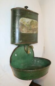 antique 19th century 1800's hand painted tole metal brass wall lavabo fountain