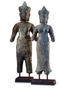 Bronzo Statua Khmer König Paio Cambogia Scultura Metallo Asiatica Asia Antica