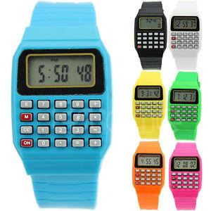 kinder rechner armbanduhr digital silikon uhr herrenuhr taschenrechner armband ebay. Black Bedroom Furniture Sets. Home Design Ideas