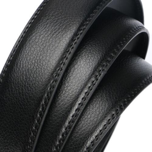 Luxury Men/'s Automatic Buckle Belt Strap Black Brown Leather Ratchet Strap Jeans