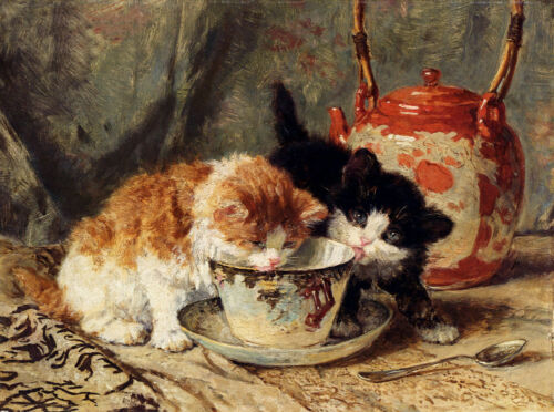 ZWOP463 fine two cats eating feed hand painted oil painting decor art canvas