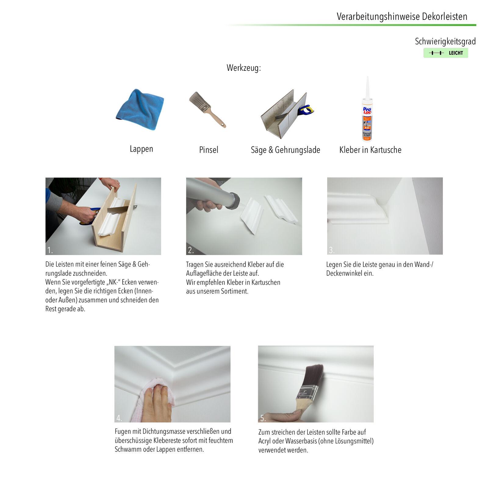 s l1600 - 20 Metros Friesprofil Guía Lisa Cenefa Poliestireno Moldura Estable 18x38mm E-18