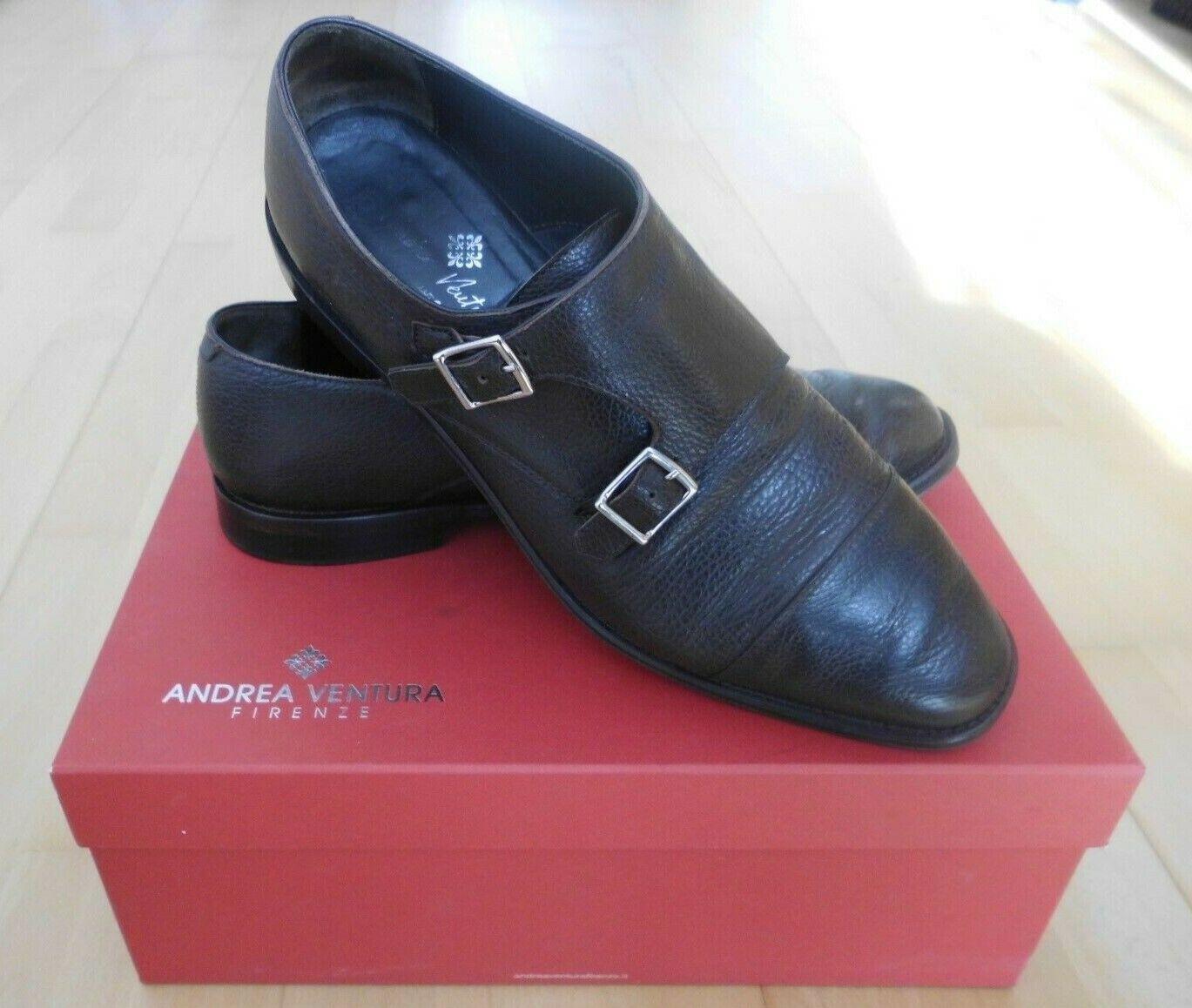 Andrea Ventura Firenze Herren Schnallen Schuhe Doppel Monk Leder Leder Leder Braun Gr 43 9 65e