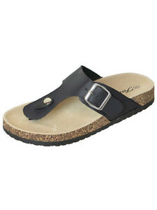 17a9f12f421 Image is loading New-Womens-Thong-Sandals-Black-Buckle-Strap-Flip-