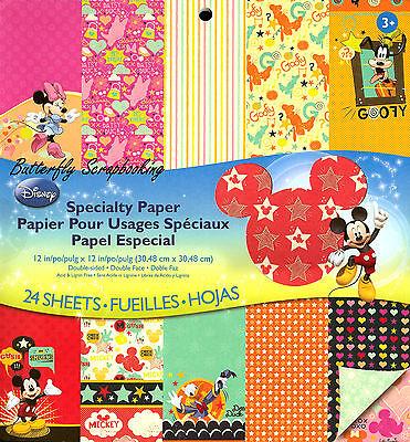DISNEY MICKEY 12x12 Scrapbooking Paper Pad 24 Sheets EK SUCCESS New