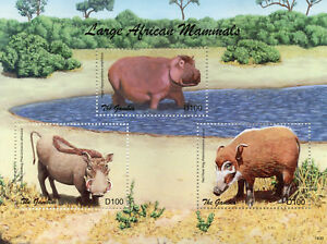 Gambie-2018-neuf-sans-charniere-Large-African-Mammals-hippopotames-phacocheres-3-V-M-S-animaux