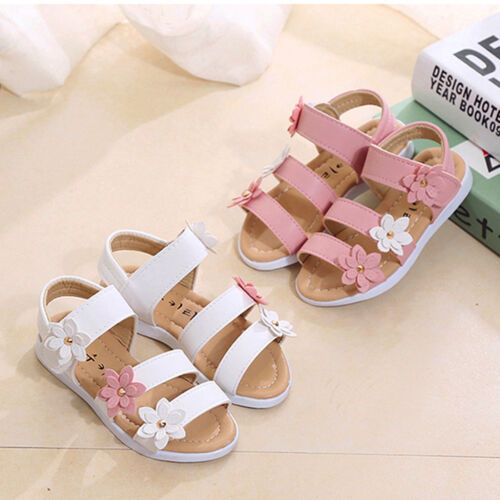 Kids Girls Ankle Strap Flower Beach Sandals Soft Leather Flat Casual Shoes