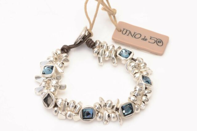 Uno de 50 The Jejewel silver plated leather crystal toggle bracelet NEW $255