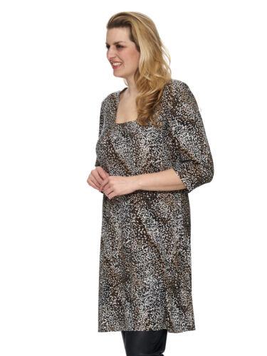 Magna Damen Tunika Kleid A-Linie Casual Paillettenprint 44 46 48 50 52 54 56