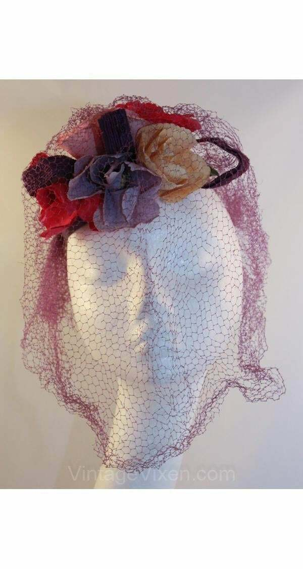 40s Hat - Wonderful 1940s Purple Veiled Millinery… - image 1