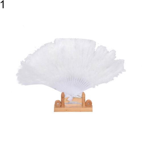 Am /_ color sólido de Ventilador de mano plegable Pluma de Pavo danza rendimiento Prop raptu